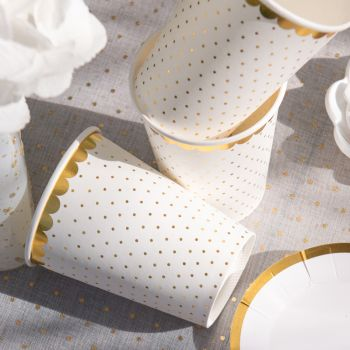10 gold gepunktete weiße Becher mit Vergoldung