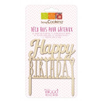 Happy Birthday Holz cake topper Scrapcooking