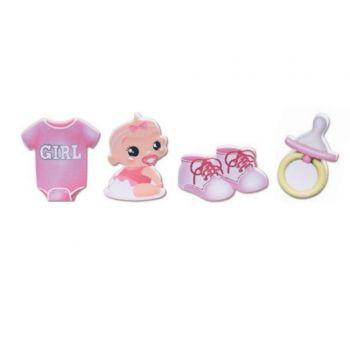 Kit-Dekoration Baby Rosa Kuchen