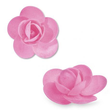 9 Rosen aus Azyme (Lebensmittelpapier) hellrosa Diese Blumen sind ideal, um Ihre Kuchen, Cupcakes und Eis zu dekorieren Abmessungen: Ø...