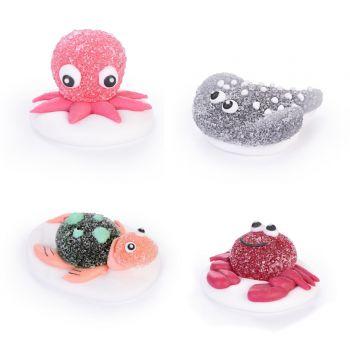 4 zuckergeeierten Ozeanfiguren