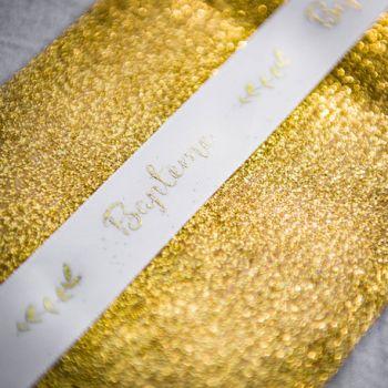 Geflochtenes Satinband Taufe Gold