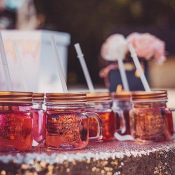 Mason jar gold rosa mit Stroh