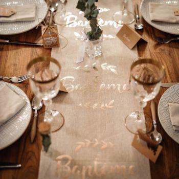 Tischpfad LeinenFlechten Taufe Gold