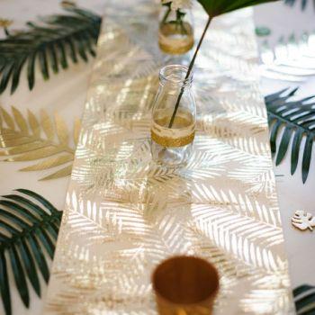 Tischpfad Leinen Palme florierte Gold