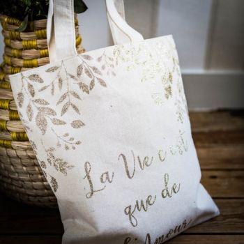 Tote Bag Das Leben ist nur glitzerte Liebe Gold