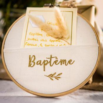 Rahmen Glitzer-Taufe Gold