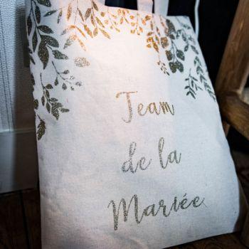 Tote Bag Team der Braut Glitzer Gold