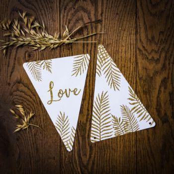5 Wimpeln Love gold glitzerte