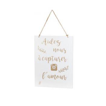 Holz-Schild erfassen Liebe glitzernden Gold