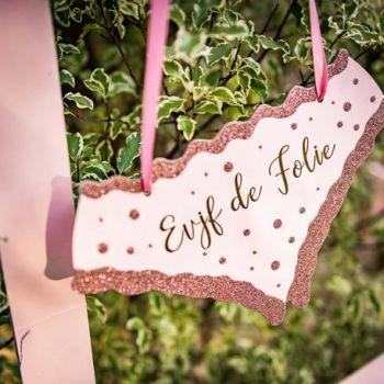 Lip-Schild gold rosa EVJF Wahnsinn