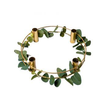 Kerzenständer Metall gold eukalyptus 24cm