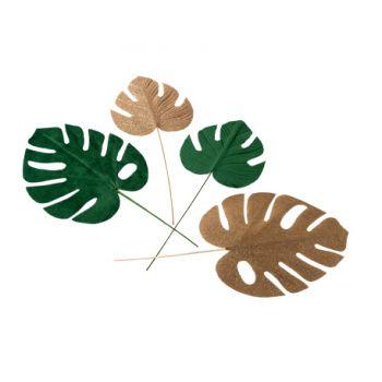 4 tropische Blätter grün samt und glitzernder Gold