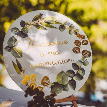 Schilder Willkommen bei Meiner Kommunion Eukalyptus gold