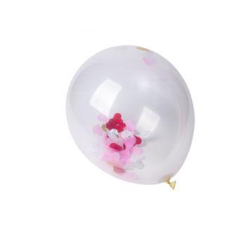 5 Ballons Konfetti rot weiß rosa