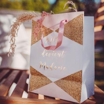 Tasche Melle wird Madame rosa, weiß, gold