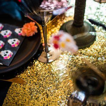 Leuchtender Tischpfad goldbraum
