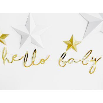 Banner gold hello baby
