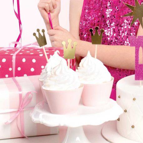 6 Kulisse kuchen dekorationen in Form von metallisierten Kronen, um eine ultra trendige Prinzessin Geburtstagsdekoration zu...