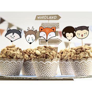 Set Deko 6 woodland Cupcakes