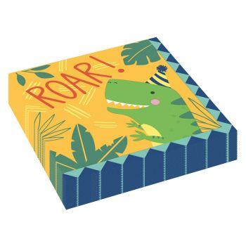 16 Servietten aus festlichem Dino-Papier