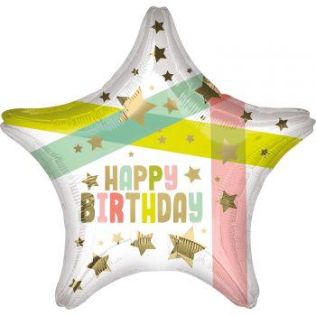 Helium-Ballon Happy birthday gold star and color 48cm