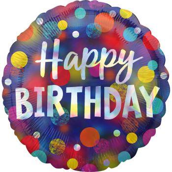 Helium-Ballon Happy birthday dots color irisé 43cm