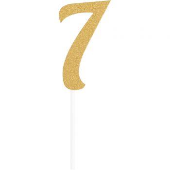 Cake topper Ziffer 7 glitter gold