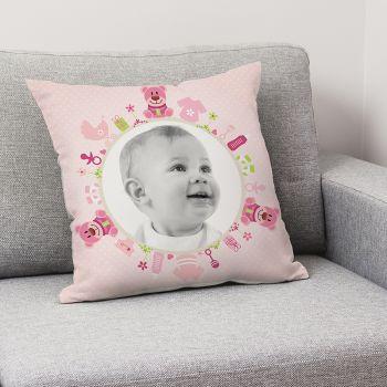 personalisierte Kissen Dekoration Baby Rosa Bär