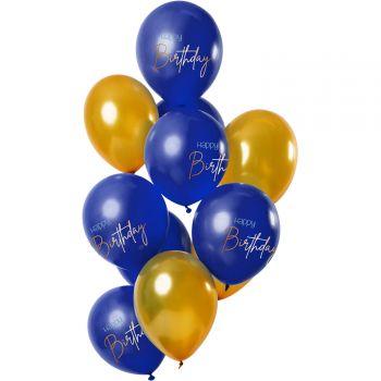 Bouquet 12 Ballons Happy Birthday Gold und Blau