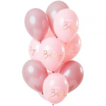 Strauß 12 Ballons Happy Birthday rosa blush