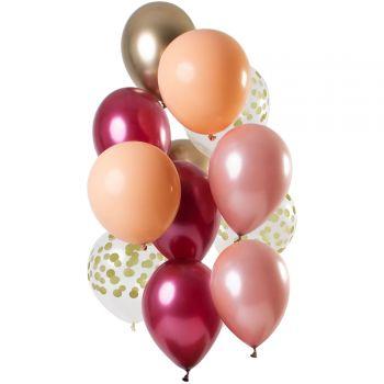 Strauß 12 Ballons Konfetti Ruby