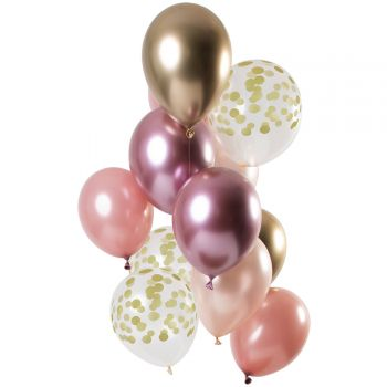 Strauß 12 Ballons Konfetti golden blush
