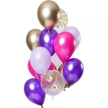 Strauß 12 Ballons Konfetti purple posh