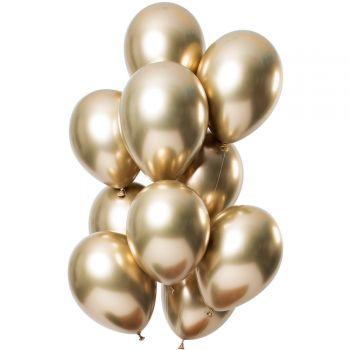 Strauß 12 Ballons Metal-Effekt Gold