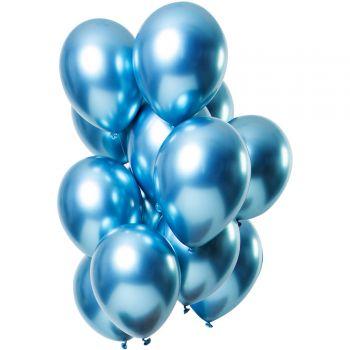 Strauß 12 Ballons Blaues Metal-Effekt