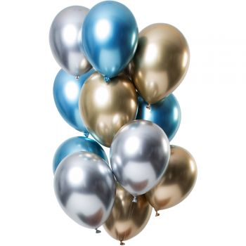 Strauß 12 Ballons Metal-Effekt Sapphir