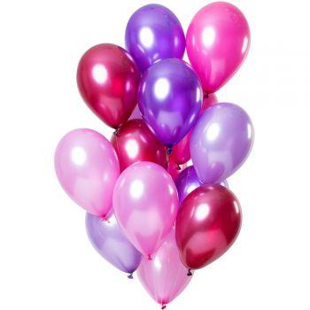 Strauß 12 Metall pink Ballons