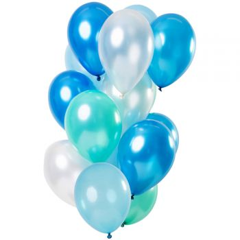 Strauß 12 Metallblaue Luftballons