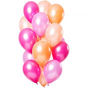 Strauß 12 Flamingo Luftballons metallisch