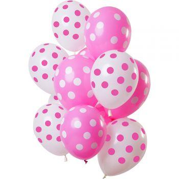 Strauß 12 luftballon mit rosa und weißer Gepunktet