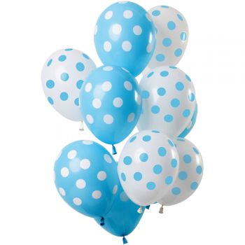Strauß 12 blaue und weiße Gepunktete Luftballons