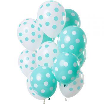 Bouquet 12 mint und weiß gepunktete Luftballons