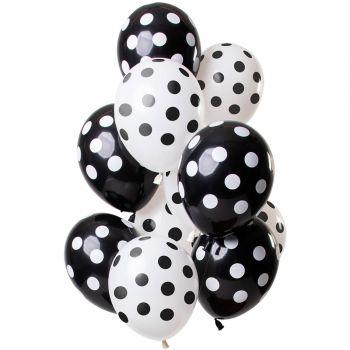 Strauß 12 Gepunktete Luftballons schwarz und weiß
