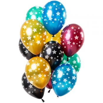 Strauß 12 mehrfarbige Luftballons Metallic Sterne