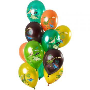 Strauß 12 mehrfarbige, metallisierte Dinosaurier Luftballons