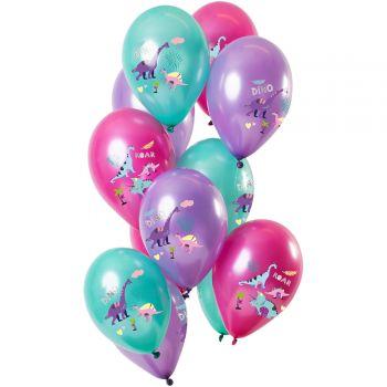 Bouquet 12 metallisierte Luftballons Lila Dinosaurier