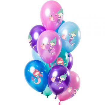 Strauß 12 metallisierte Ballons Meerjungfrau
