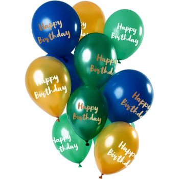 Strauß 12 Ballons Happy Birthday gold blau