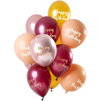 Strauß 12 Ballons Happy Birthday Goldrosa